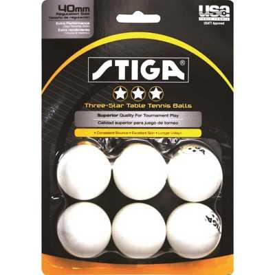 Stiga 3-Star 6-Pack White Ping Pong Balls