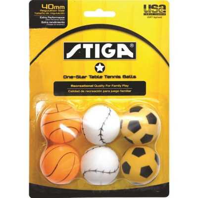 STIGA One Star Sport 6-Pack Table Tennis Balls