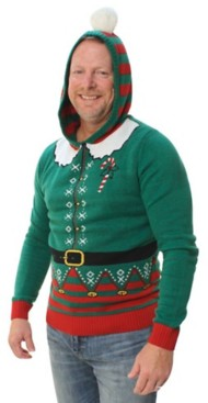 Men's Ugly Christmas Sweater Elf Hooded Pullover Sweater