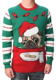 Men's Ugly Christmas Sweater LED Pug Pullover Sweater