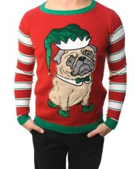 Men's Ugly Christmas Sweater Fur Pug Pullover Sweater