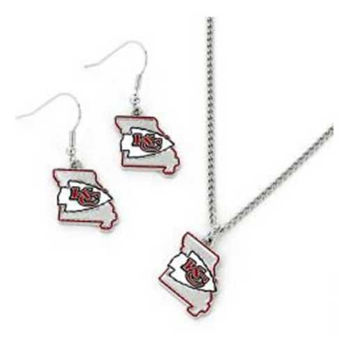 Aminco International Kansas City Chiefs State Earring and Necklace Set