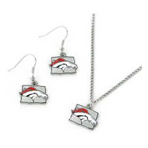 Aminco International Denver Broncos State Earring and Necklace Set