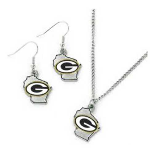 Aminco International Green Bay Packers State Earring and Necklace Set