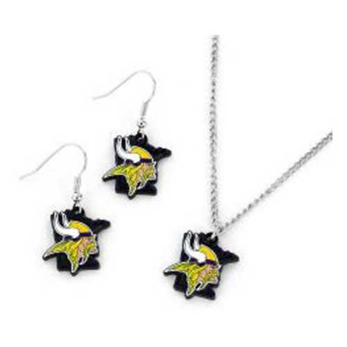 Aminco International Minnesota Vikings State Earring and Necklace Set