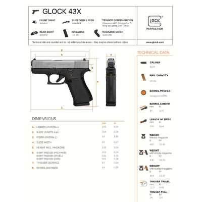 GLOCK 43X Standard Sights 9mm Handgun
