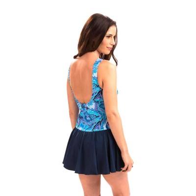 Women's Dolfin Aquashape Ikat V-Neck Printed Front Panel One Piece Swimsuit