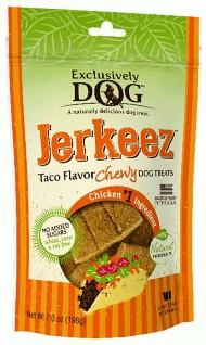 Exclusively Dog Jerkeez Taco Flavor Chewy Dog Treats