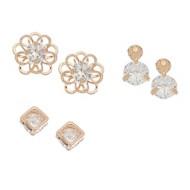 Women's Howard's Square Flower Dazzle Gold 3PK Earrings