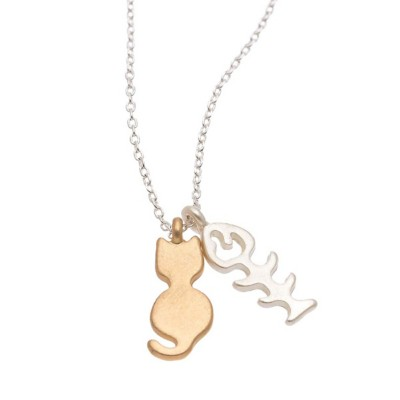 Women's Howard's Cat and Fish Bone Gold Necklace