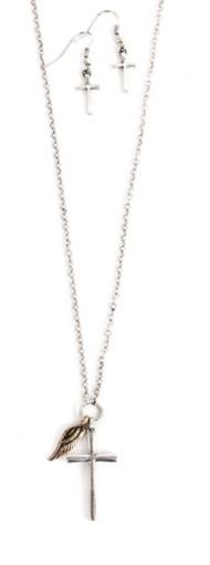 Women's Ethel & Myrtl Cross Wing Charm Necklace & Earring Set