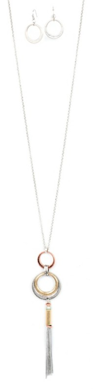 Women's Ethel & Myrtl Rings Tassel Necklace & Earring Set