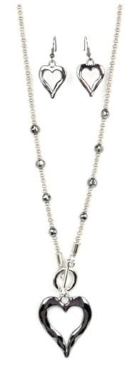 Women's Ethel & Myrtl Toggle Heart Necklace & Earring Set