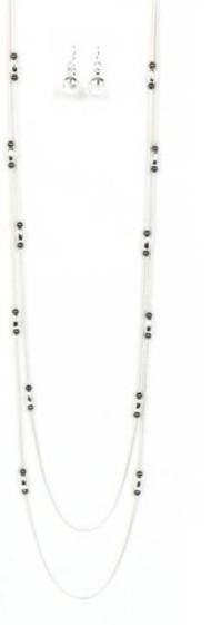 Women's Ethel & Myrtl  Row Beads Necklace & Earring Set