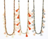Women's Ethel & Myrtle Tiny Tassel Necklace/Earring Set
