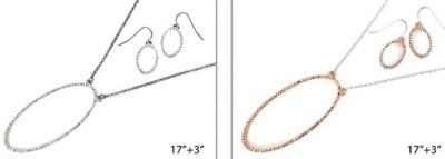 Women's Ethel & Myrtle Oval Pave Necklace/Earring Set