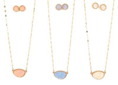 Women's Ethel & Myrtle Druzy Oval Necklace/Earring Set