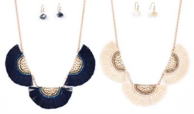 Women's Ethel & Myrtle Tassle Fans Necklace/Earring Set