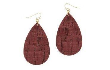 Women's Ethel And Myrtle Burgandy Cork Teardrop Earrings