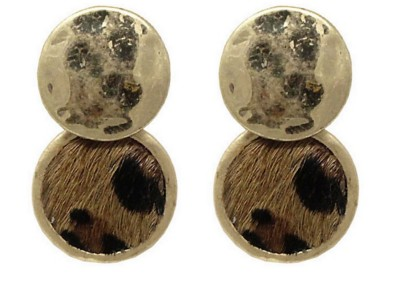 Women's Ethel And Myrtle Gold Hammered Animal Print Earrings