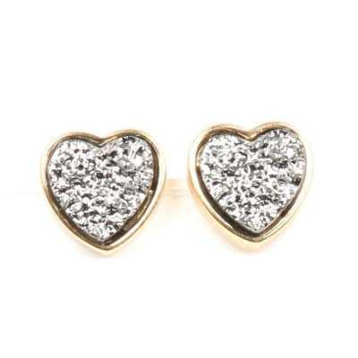 Women's Ethel And Myrtle Druzy Heart Earrings
