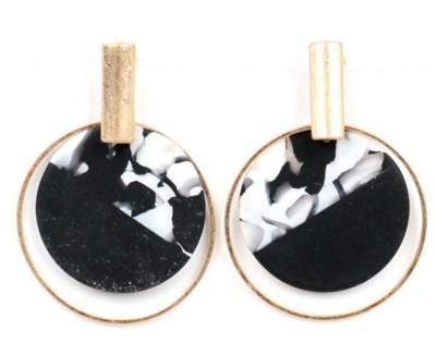 Women's Ethel And Myrtle Black Bar Disk Earrings