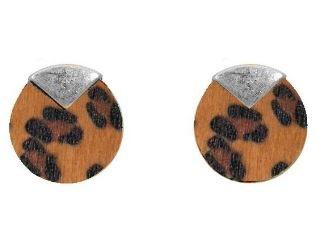 Women's Ethel And Myrtle Topaz Leopard Wood Disk Earring