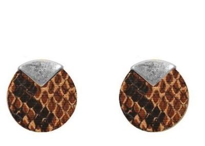 Women's Ethel And Myrtle Snakeskin Wood Disk Earring