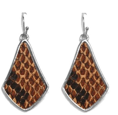 Women's Ethel And Myrtle Brown Snakeskin Wood Teardrop Earrings