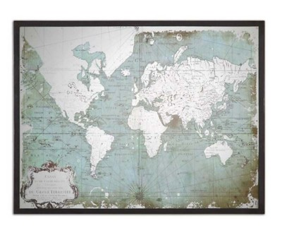 Uttermost Company Mirrored World Map Framed Print