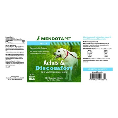 Mendota Pet Aches and Discomfort Chewable Tablets 60 Count
