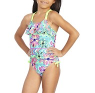 Youth Girls' Breaking Waves Tribal Beat Swimsuit