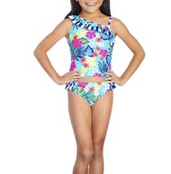 Youth Girls' Breaking Waves Tropical Shoulder Tankini Set