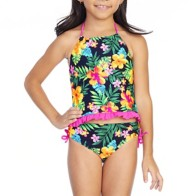 Youth Girls' Breaking Waves Watercolor Tropical Tankini Set