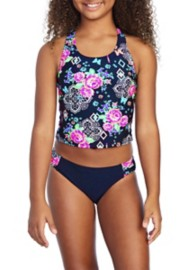 Youth Girls' Breaking Waves Arizona Garden Tankini Set