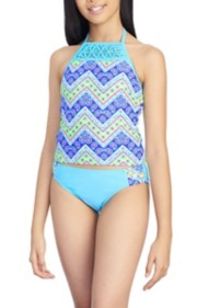 Youth Girls' Breaking Waves Paisley Chevron Tankini Set