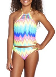Youth Girls' Breaking Waves Rainbow Tankini Set