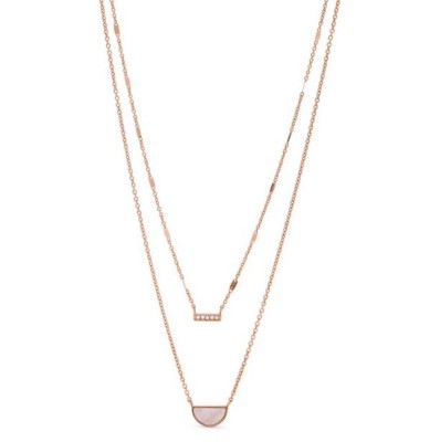 Women's Fossil Duo Half Moon Rose Gold Stainless Steel Necklace