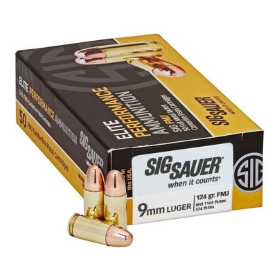 SIG Ammo, 9Mm, 124Gr, Elite Ball, Fmj, Box