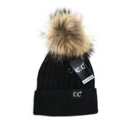 Women's C.C Black Label Special Edition Solid Ribbed Fur Pom Beanie