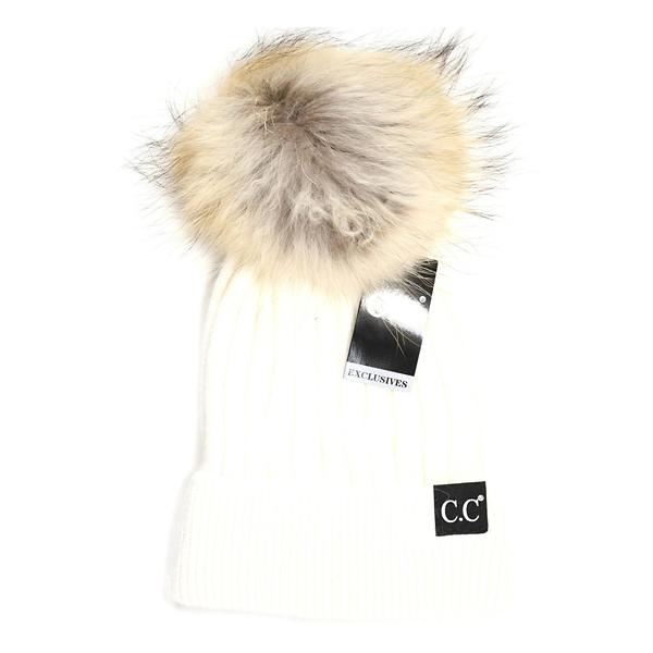 Women s C.C. Black Label Special Edition Solid Ribbed Fur Pom Beanie ... cbcd8a23a84