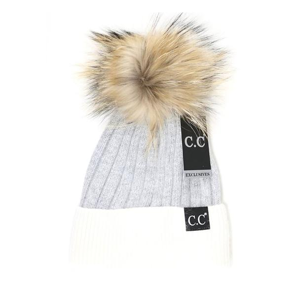 Women s C.C. Black Label Stripe Fur Pom Beanie  03567f2e1f0