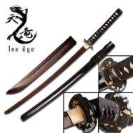Master Cutlery Ten Ryu Hand Forged Samurai Sword Brown