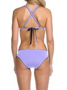 Women's Becca Shimmer Reversible Cross Back Halter Bikini Top