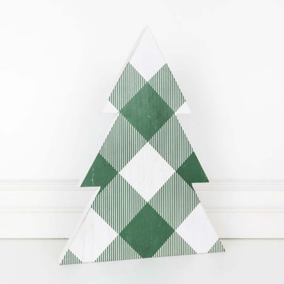 Adams & Co. 16 Inch Check Patterned Tree Sculpture