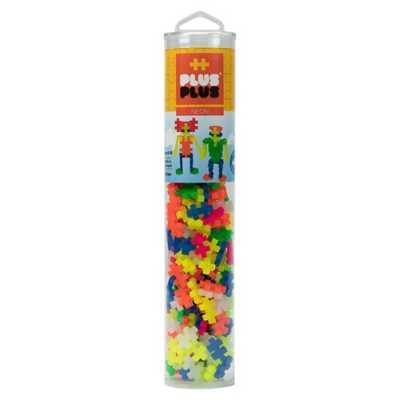 Plus Plus Open Play Tube 240 Piece Neon Mix Building Kit