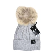 Women's C.C Black Label Special Edition Solid Cable Knit Pom Beanie