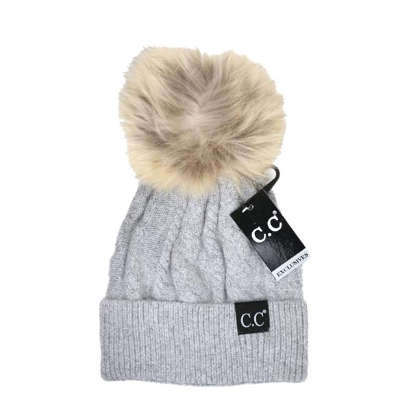 03292a50694 Women s C.C. Black Label Special Edition Solid Cable Knit Pom Beanie ...