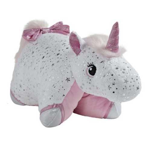 Glittery White Unicorn Pillow Pet