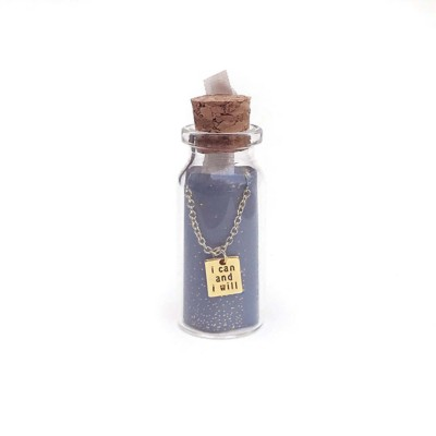 Women's Lucky Feather Message In Bottle I Will Necklace